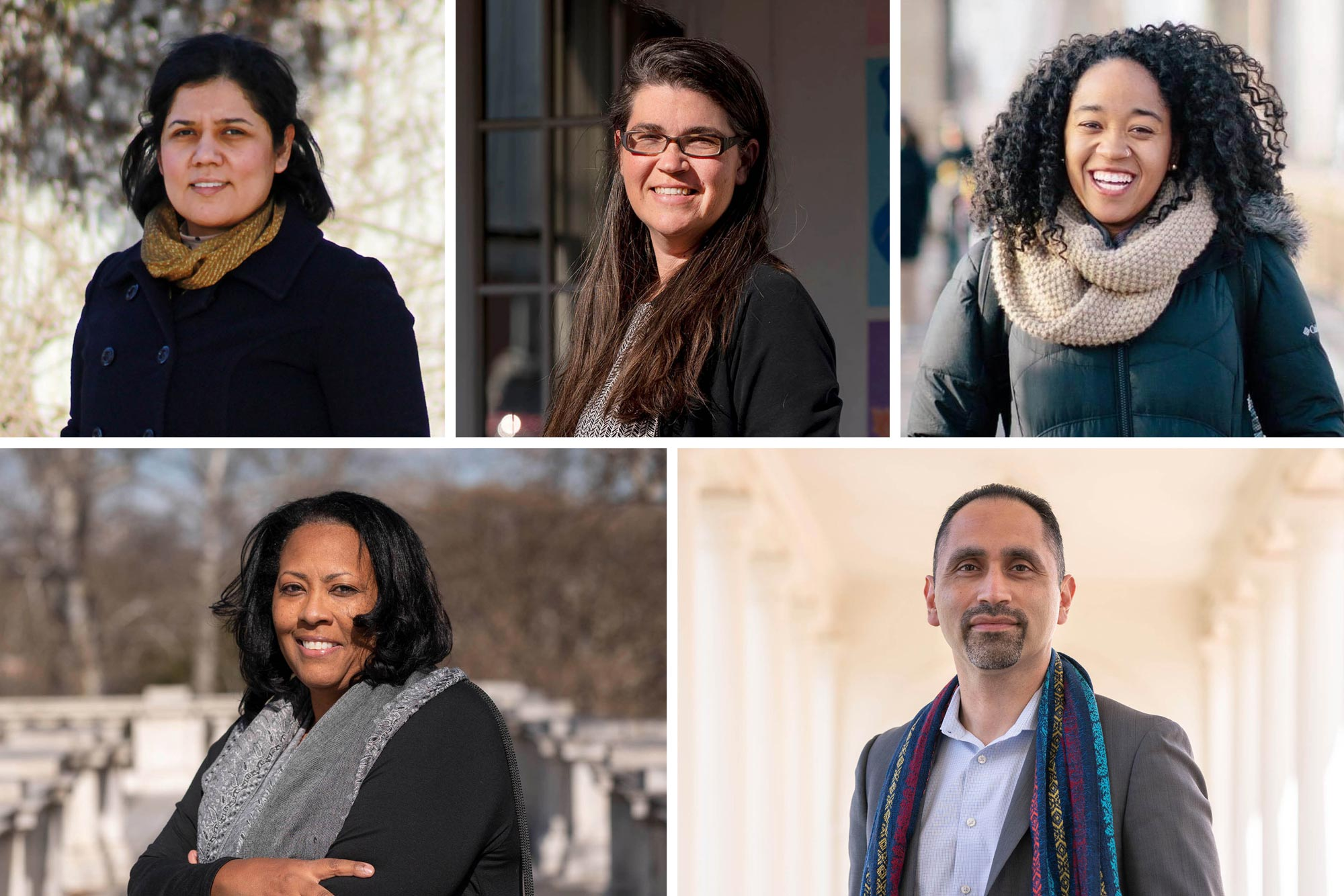 The 2021 Community Fellows-in-Residence include, top row from left, María Esparza Rodríguez, Anna Mendez and Marian McCullough, and bottom row, Benita Mayo and Edgar Lara. (Photos by Sanjay Suchak, University Communications; contributed)