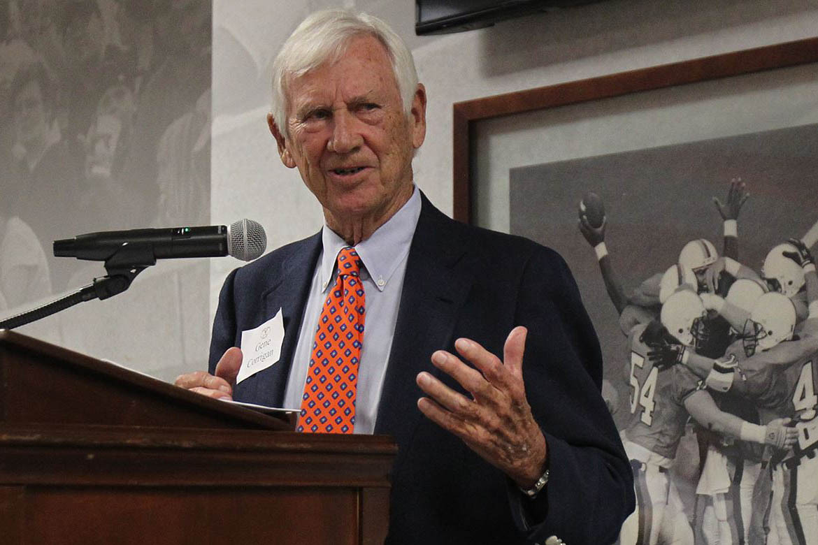 """Virginia director of athletics Carla Williams called her predecessor, Gene Corrigan, """"a giant in our industry,"""" and remembered his kindness to her when she arrived at UVA. (Photo: UVA Athletics)"""