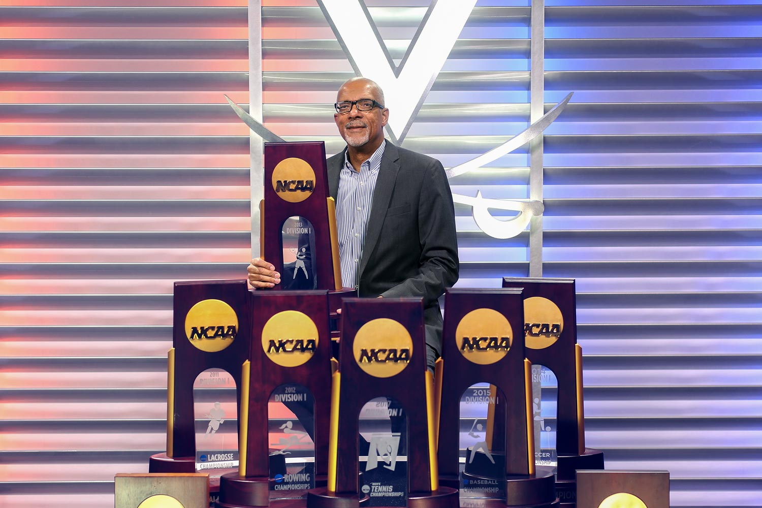 Thirteen NCAA championship trophies are emblematic of the all-around success of UVA's athletics program under the leadership of Craig Littlepage.