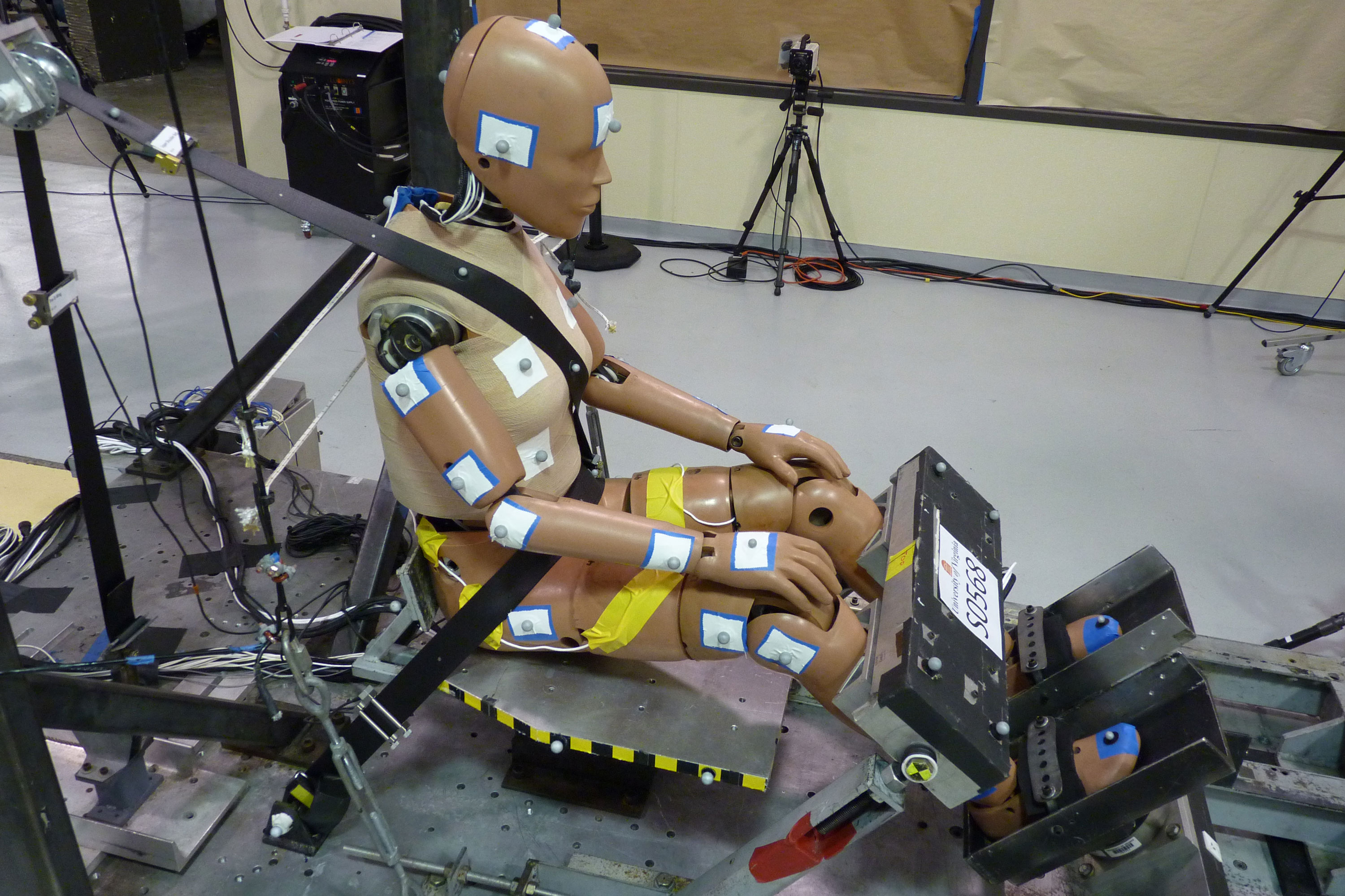 The Center for Applied Biomechanics is testing an industry-standard dummy designed to represent a 5th-percentile woman, to evaluate how realistically the dummy represents a female automobile occupant. (Photo courtesy Center for Applied Biomechanics)