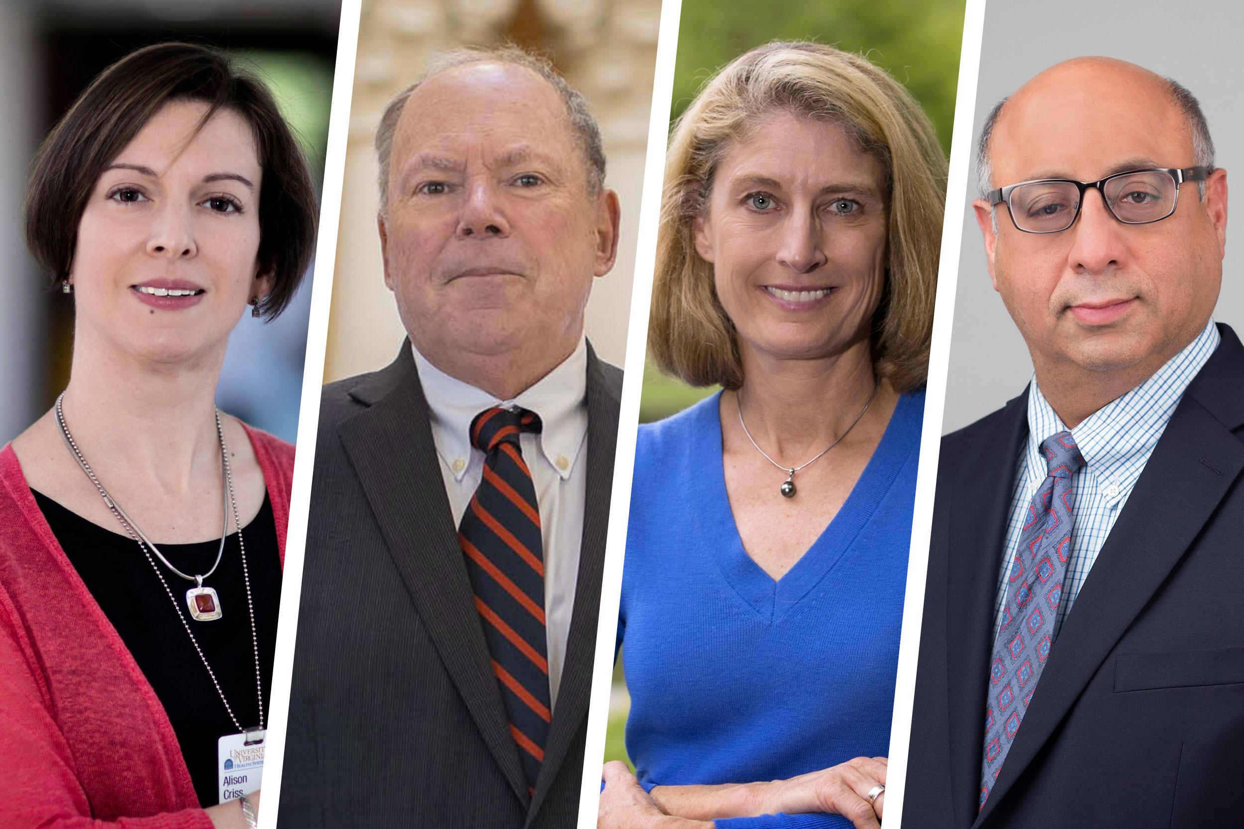 Alison Criss, Phillip Bourne, Karen McGlathery and Dr. Jaideep Kapur, they head four of UVA's pan-University institutes.