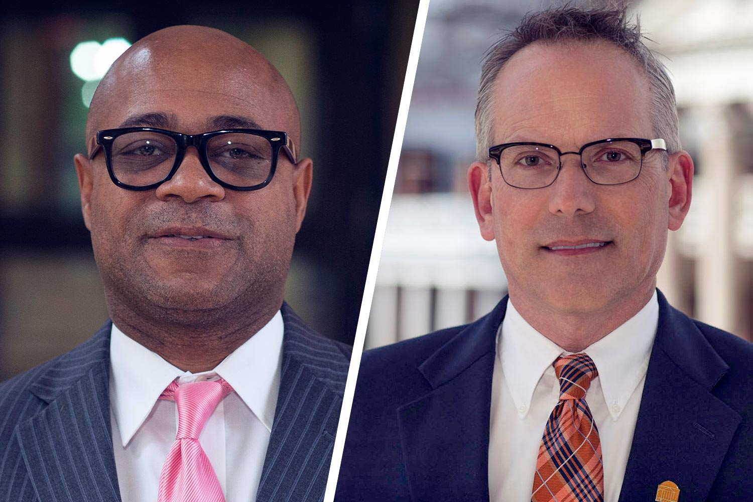 Curry School professor Derrick Alridge, left, and Assistant Vice President for Compliance Gary Nimax are the winners of the 2018 John T. Casteen III Diversity-Equity-Inclusion Leadership Awards.