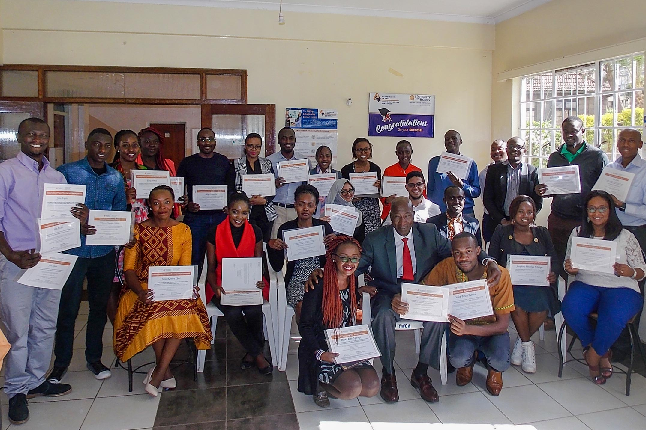 Students at a graduation ceremony in Kenya after completing the Business Strategy Specialization, a certificate program offered online by UVA's Darden School of Business.