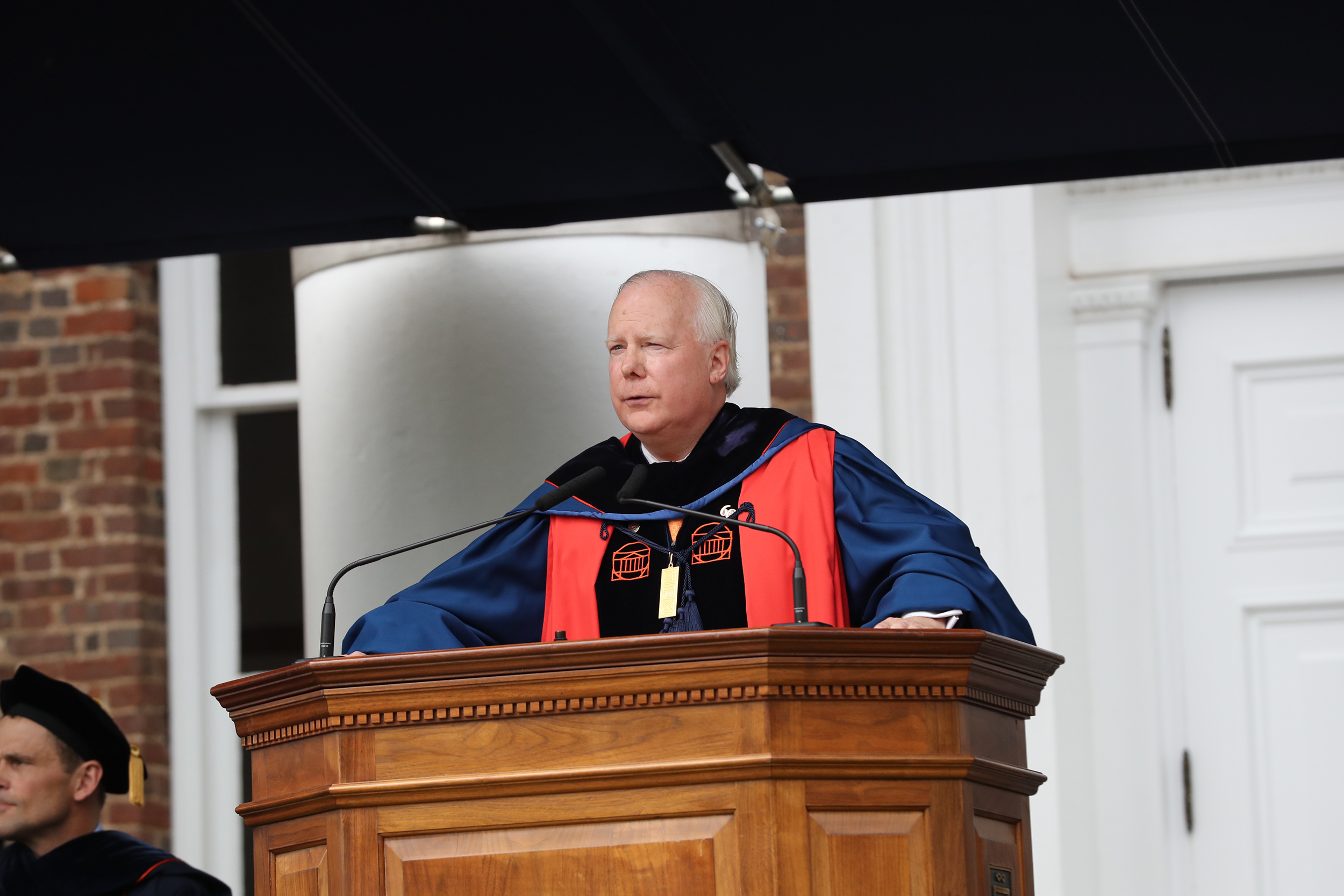 """UVA Rector Rusty Conner: """"We are at a point in this nation's history where we need to cast off the ways of the present. We can no longer afford to continue as we are if we are to achieve this nation's promise."""" (Photo by Dan Addison, UVA)"""