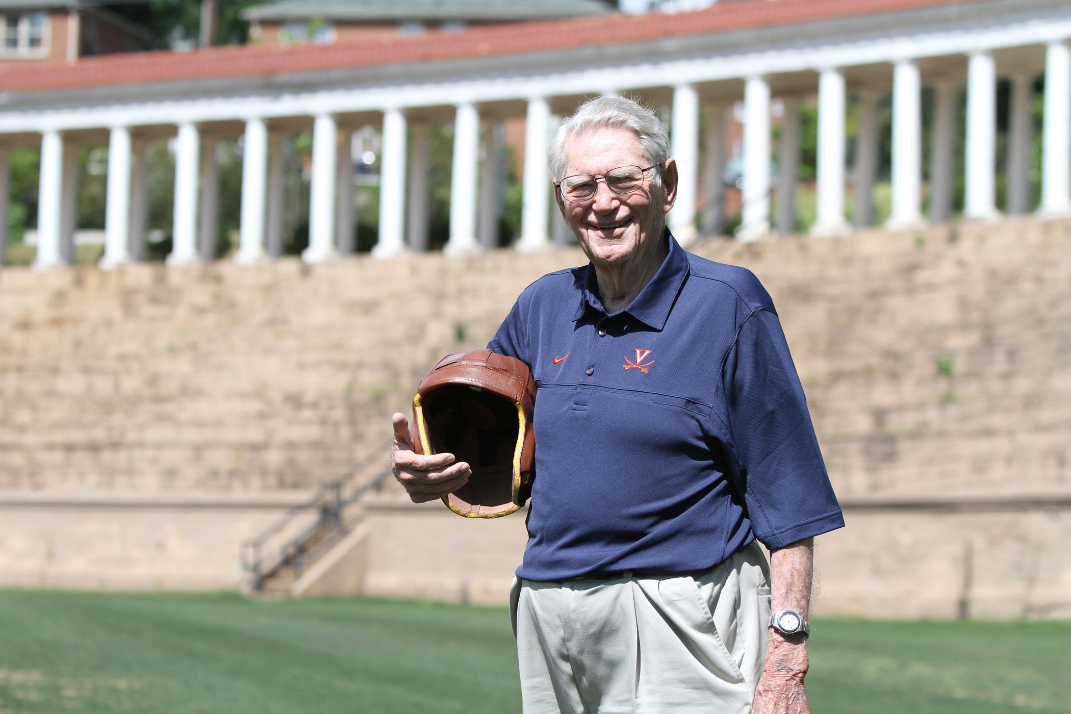 Dr. John Risher was part of the last Cavalier football team to play its home games at Lambeth Field, above, and the first team to play at Scott Stadium. He died Friday at age 107.