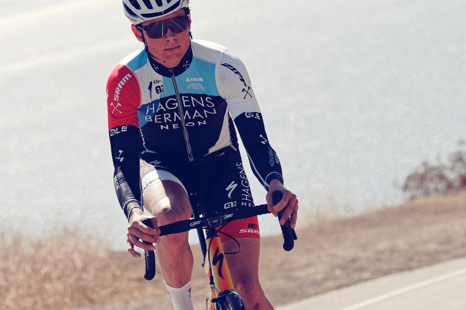 Eddie Anderson at the Axeon Hagens Berman team training camp in Calabasas, California last week. He spent 10 days at the camp before returning for classes.
