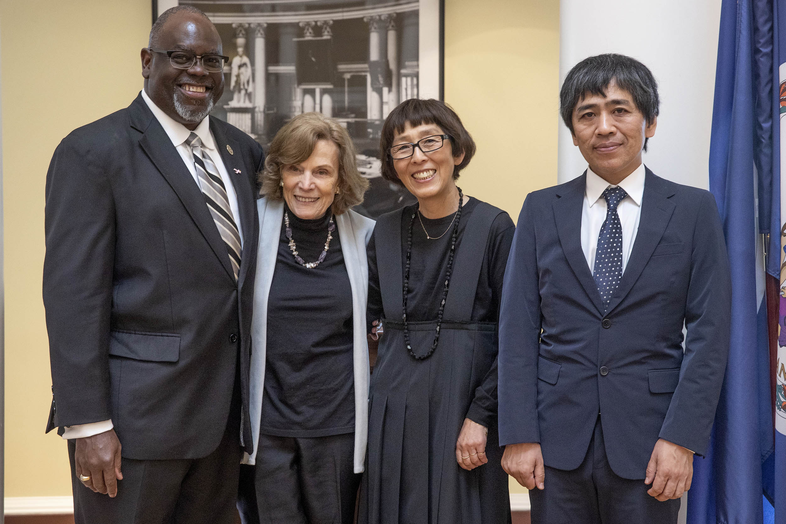 From left: U.S. Judge Carlton W. Reeves, oceanographer Sylvia Earle and architects Kazuyo Sejima and Ryue Nishizawa, the 2019 Thomas Jefferson Foundation Medalists.