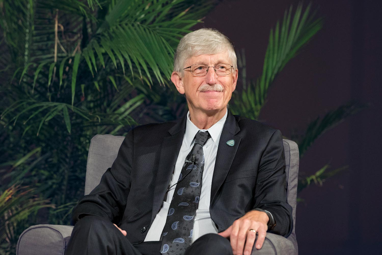 NIH Director Francis Collins, a UVA alumnus, spoke Wednesday to a large audience in UVA's Old Cabell Hall Auditorium.