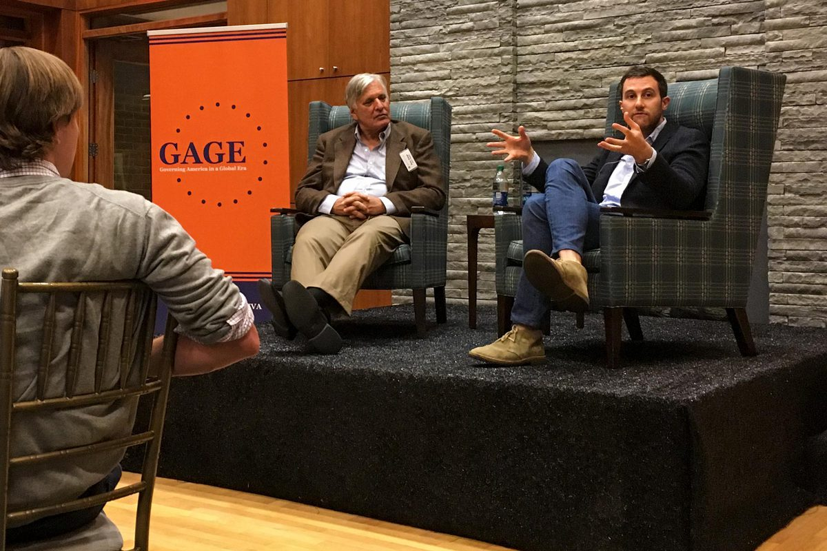 Alumnus Dan Keyserling, right, who works for Google's parent company, spoke with students last week as part of the new Governing America in a Global Era initiative.
