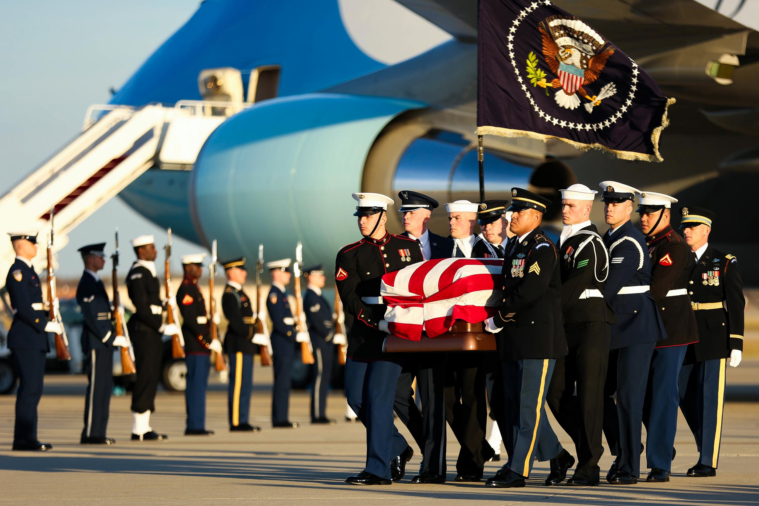 President George H.W. Bush's casket arrived in Washington on Monday for the late president's state funeral.