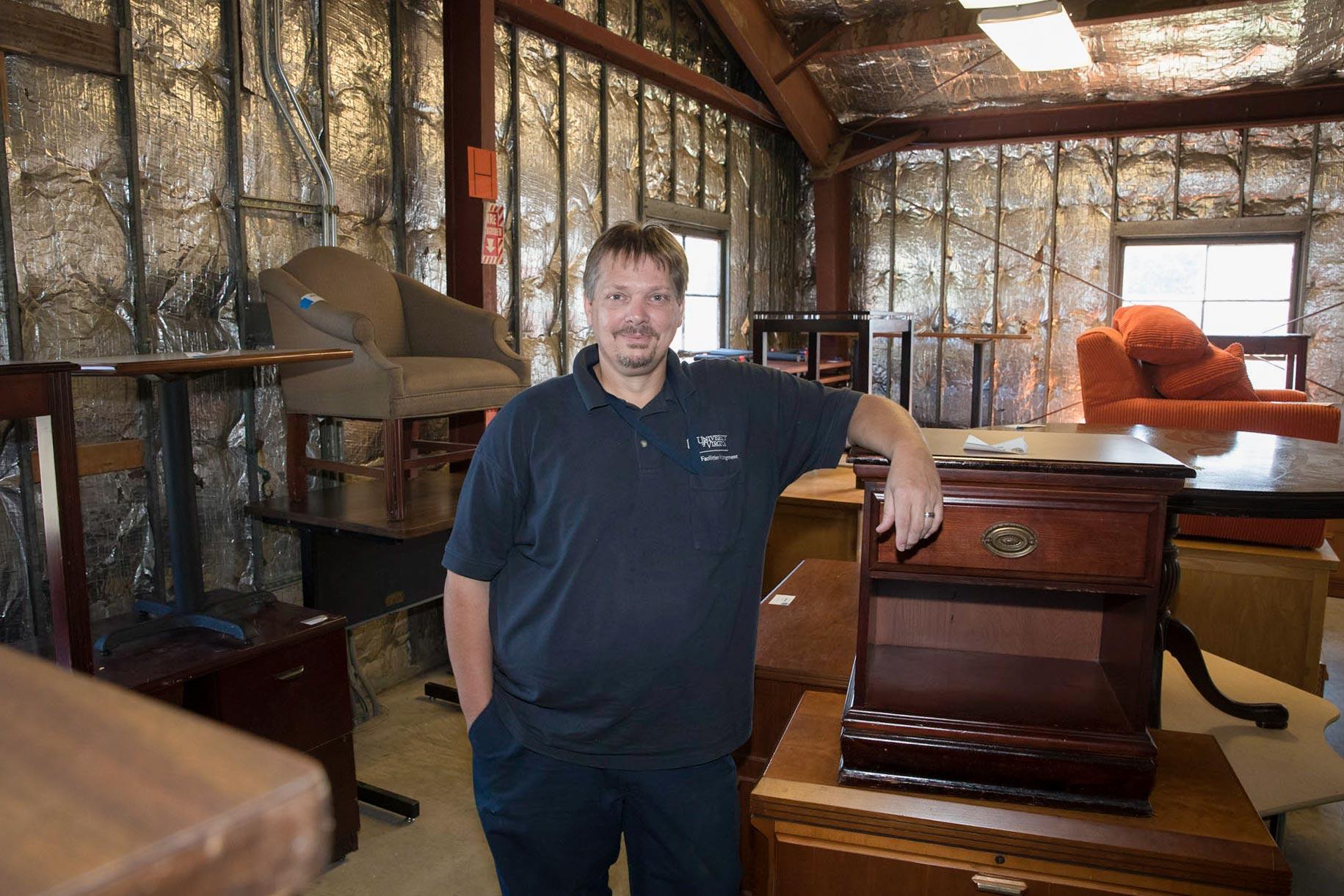 Glenn Shifflett, ReUse Store program coordinator, manages the University's surplus items.