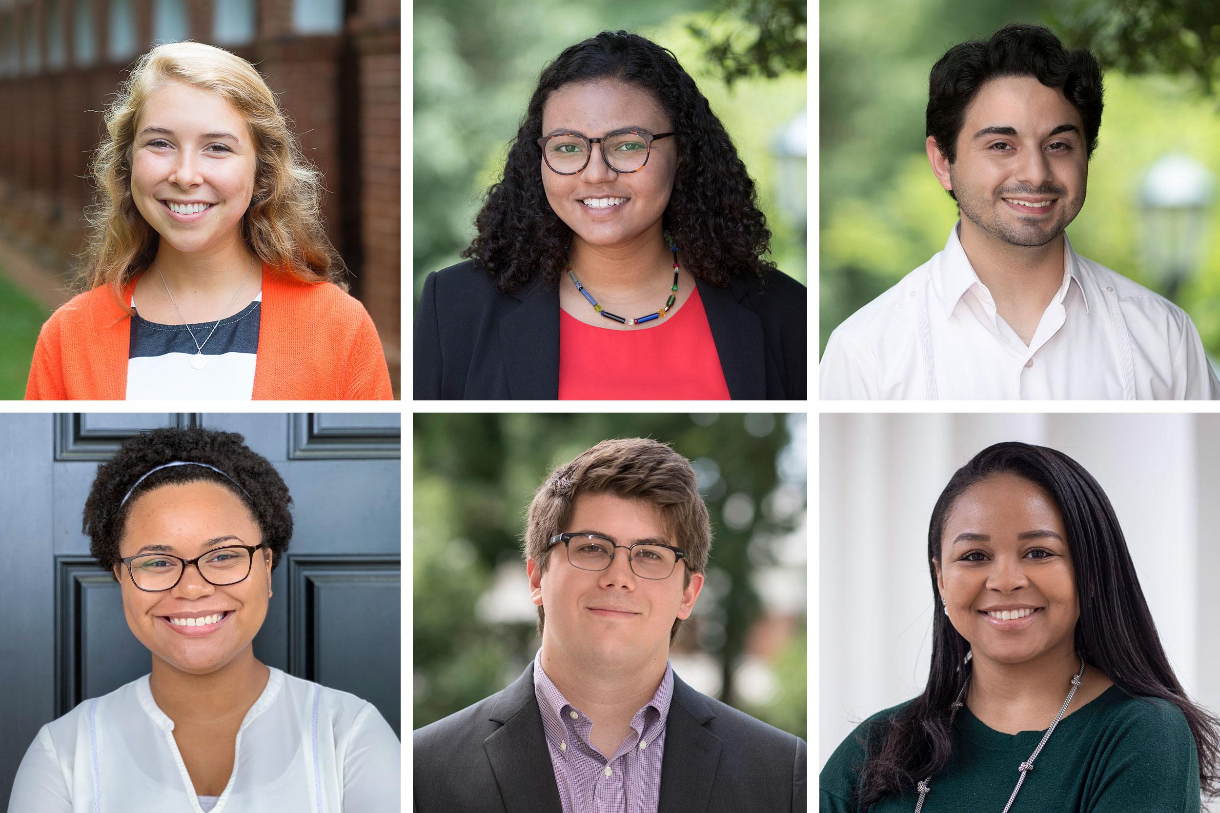 UVA's Governor's Fellows: top row, from left, Grace Blanchard, Virginia Chambers and Alex Cintron; bottom row, from left, Natasha Coleman, Sam Lesemann and Kiara Rogers.