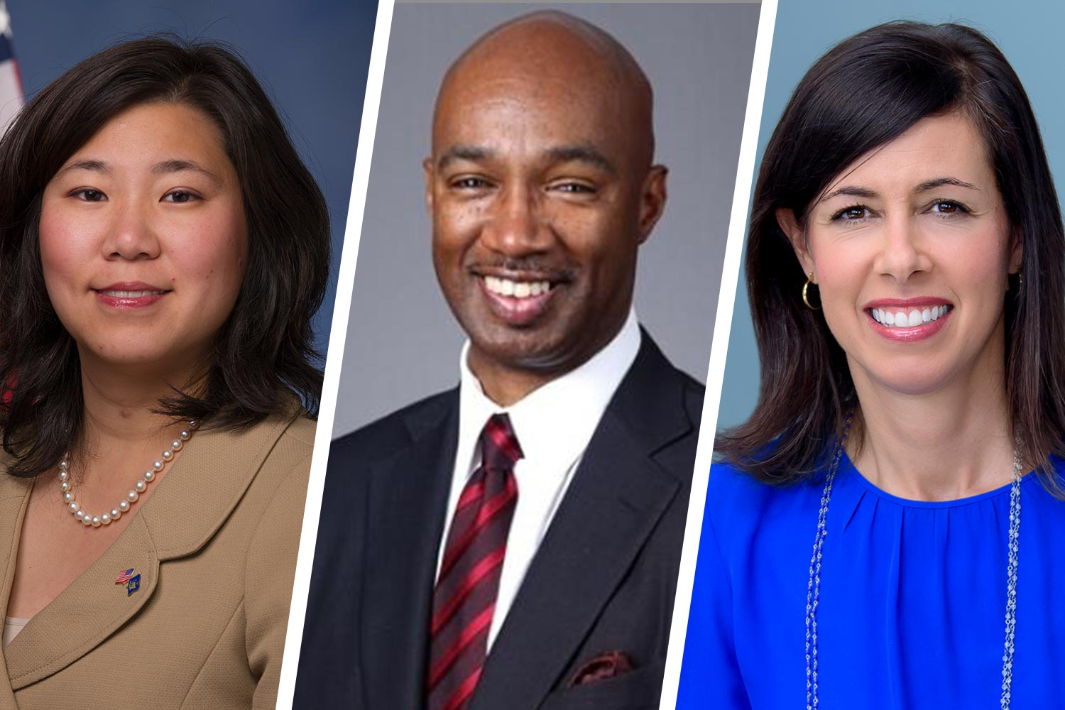 """Grace Meng, Larry Irving and Jessica Rosenworcel, experts on the """"digital divide,"""" spoke Thursday on a panel moderated by UVA President Jim Ryan. (Contributed photos)"""