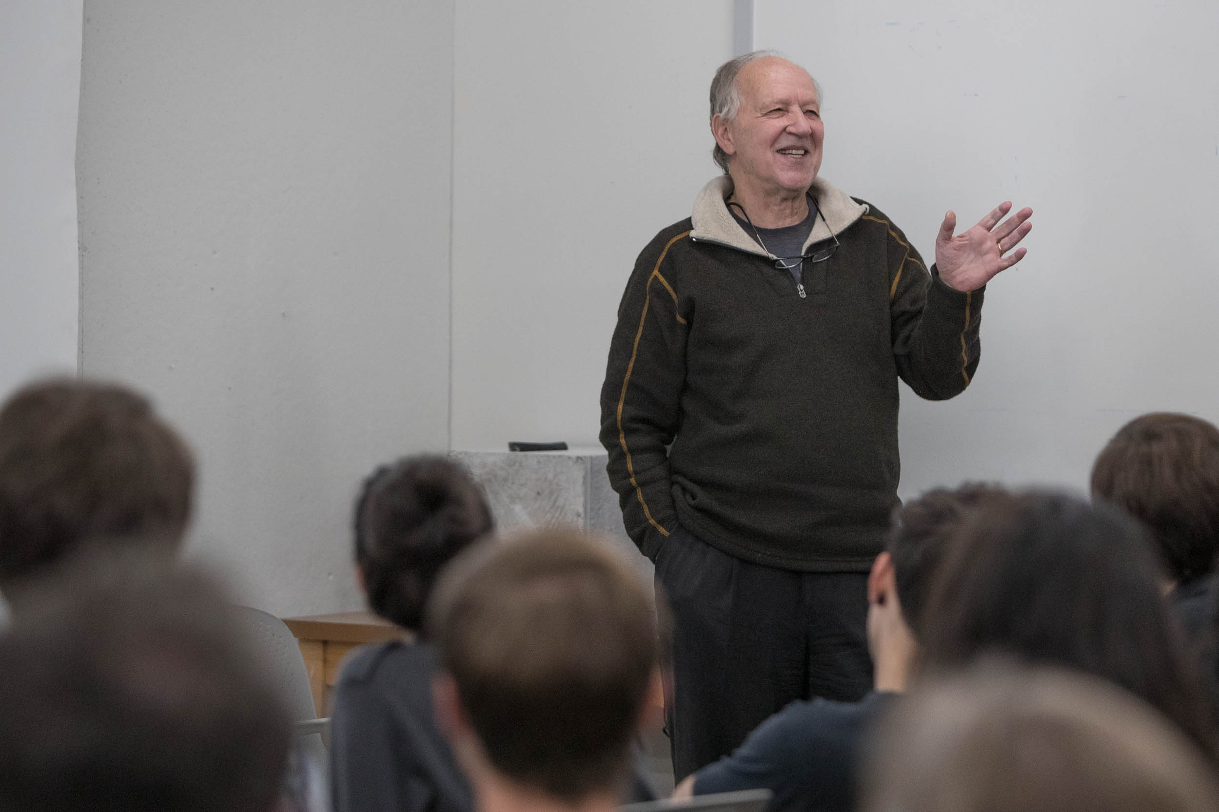 Famed filmmaker Werner Herzog addressed UVA art students and faculty on Friday while in Charlottesville for the Virginia Film Festival. (Sanjay Suchak, University Communications)