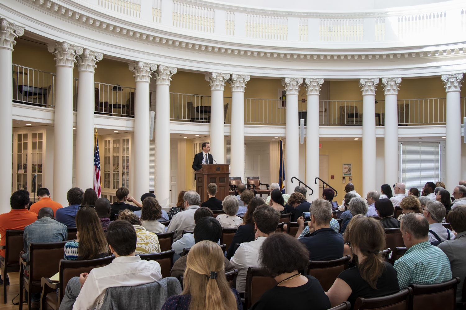 UVA Arts & Sciences Dean Ian Baucom, the former president of the sponsoring Consortium of Humanities Centers and Institutes, welcomes conference participants Thursday in the Rotunda's Dome Room.