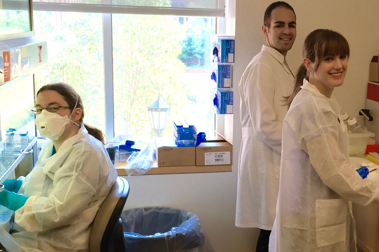 Co-authors Stacey Burgess and Mahmoud Saleh and lead author Carrie Cowardin in the Petri lab at the University of Virginia. (Contributed photo)