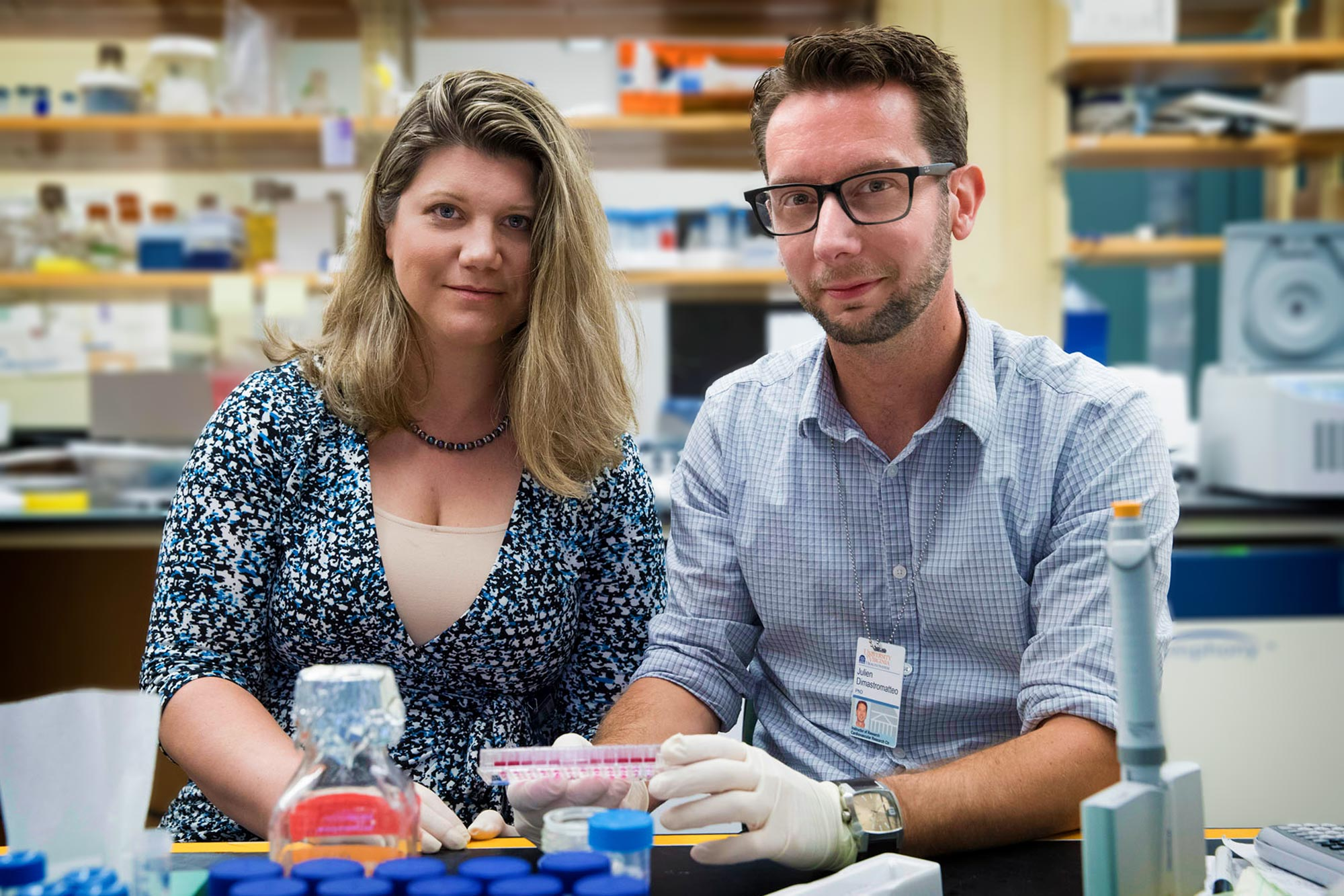 Kimberly Kelly, left, and research associate Julien Dimastromatteo are developing two products for diagnosing and treating plectin-positive cancers.