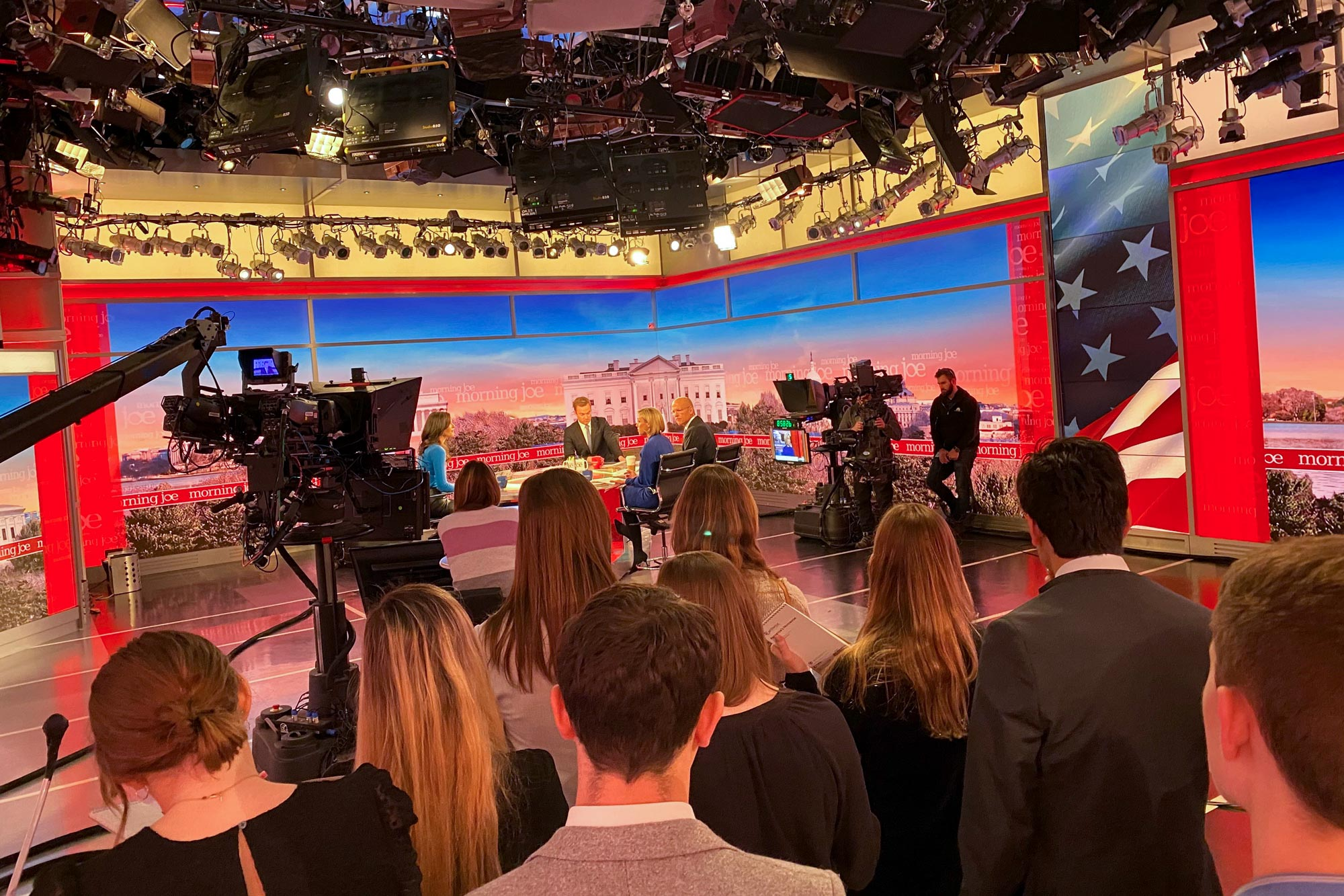 """UVA students, here on the set of the NBC News talk show, """"Morning Joe,"""" spent last week meeting with various media organizations."""