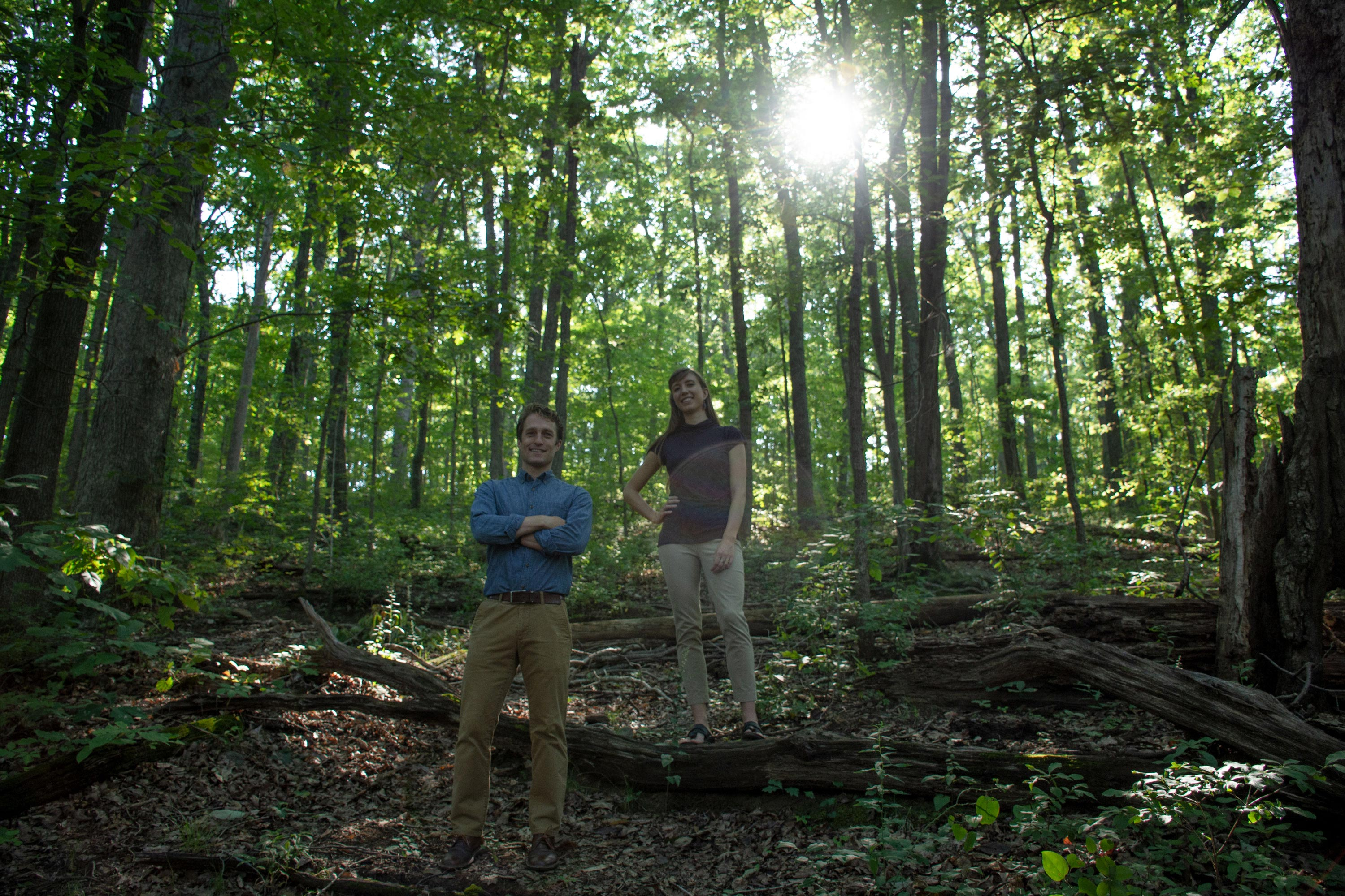 UVA doctoral students Jake Malcomb and Linnea Saby plan to study the effects of climate change in Shenandoah National Park with help from the International Space Station. (Photo by Cody Huff, DSI Multimedia Producer)