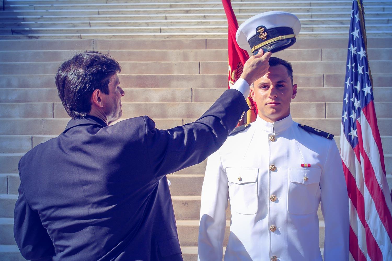 Jeff Jernigan during an ROTC ceremony at UVA