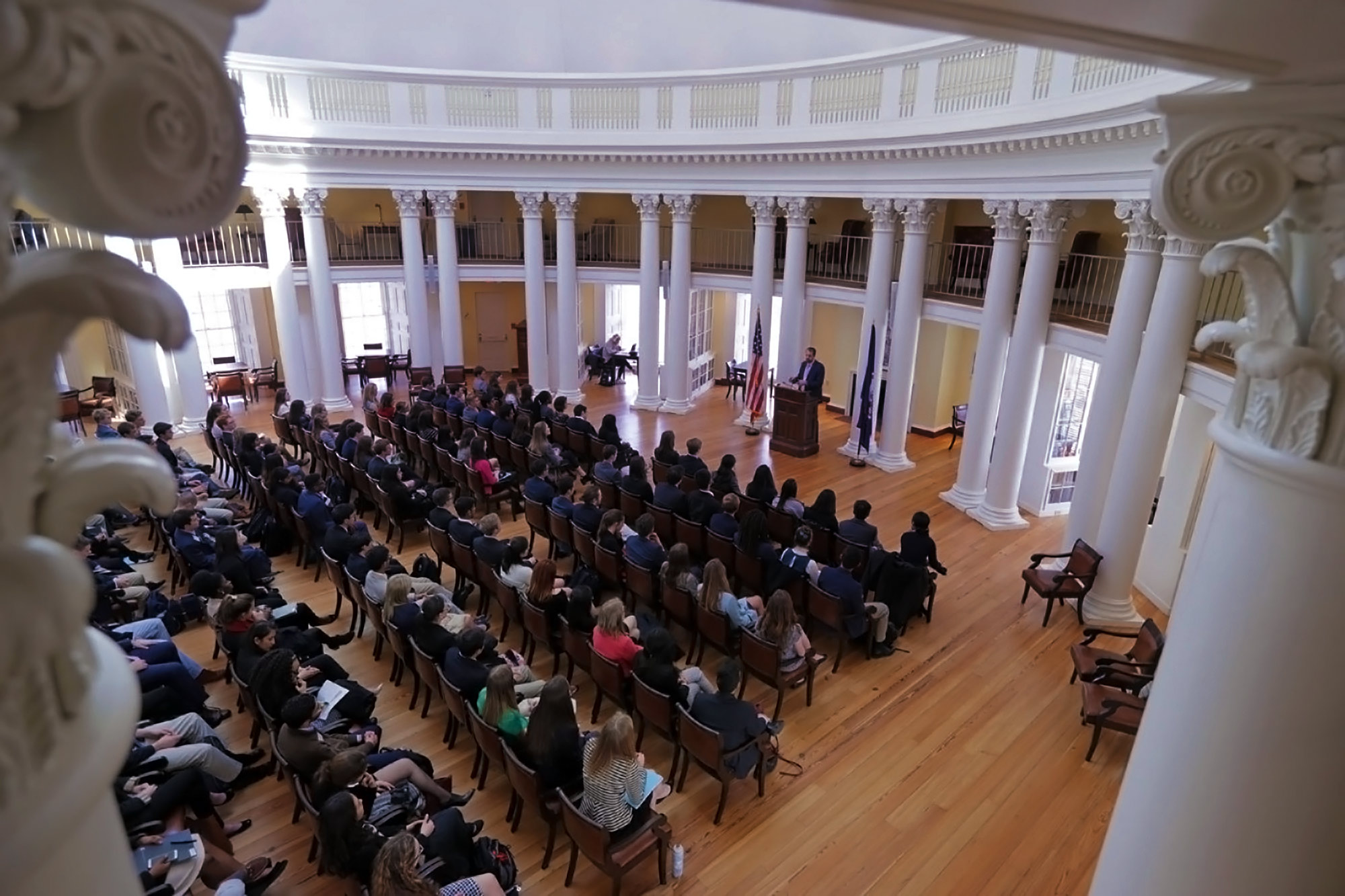Jefferson Scholar finalists participated in a number of activities while on Grounds, including a seminar, an essay and mathematics examination and a round of interviews, as well as a discussion in the Rotunda Dome Room to learn more about the University.