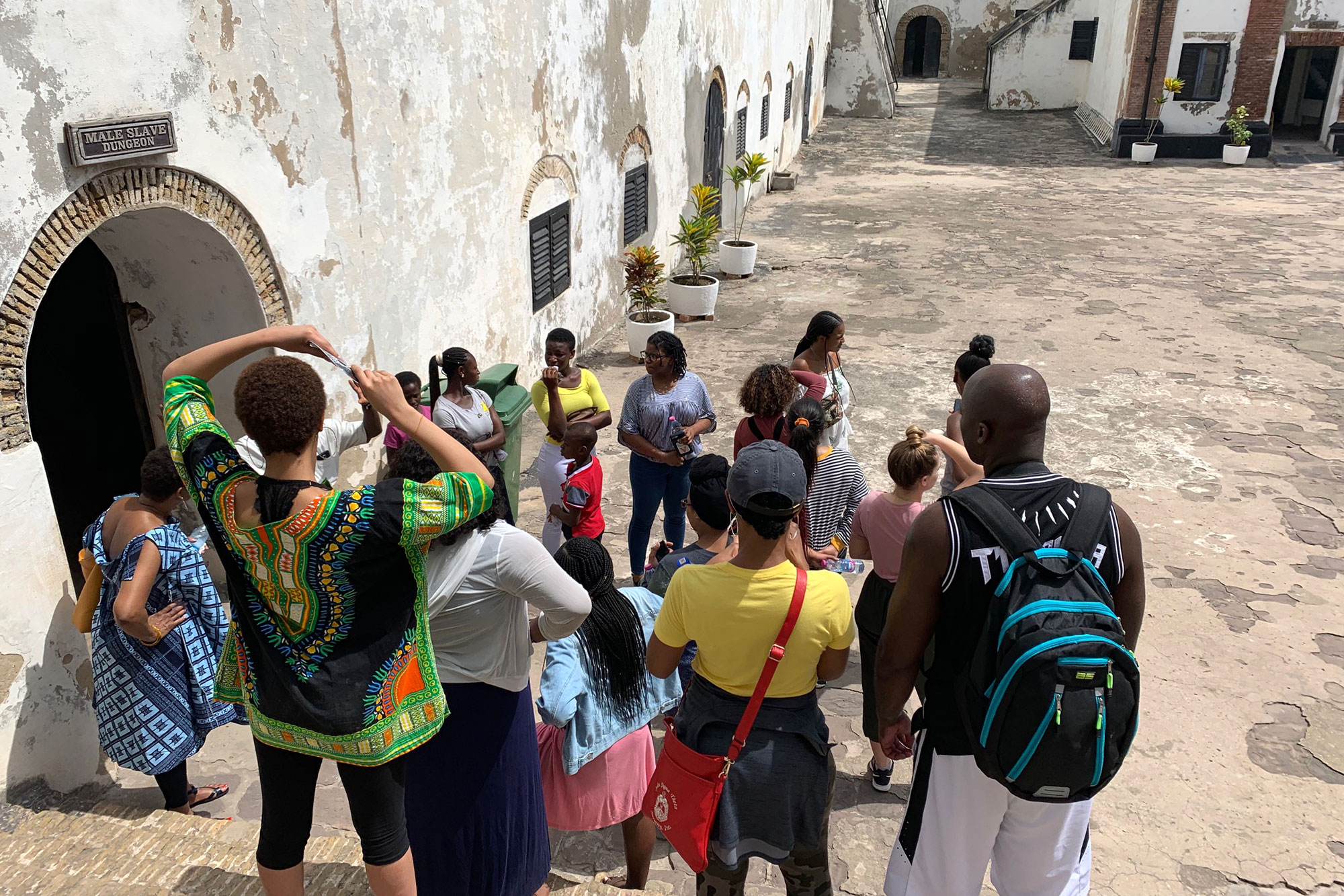 Students who took a J-term course in Ghana visited the Elmina slave fort.