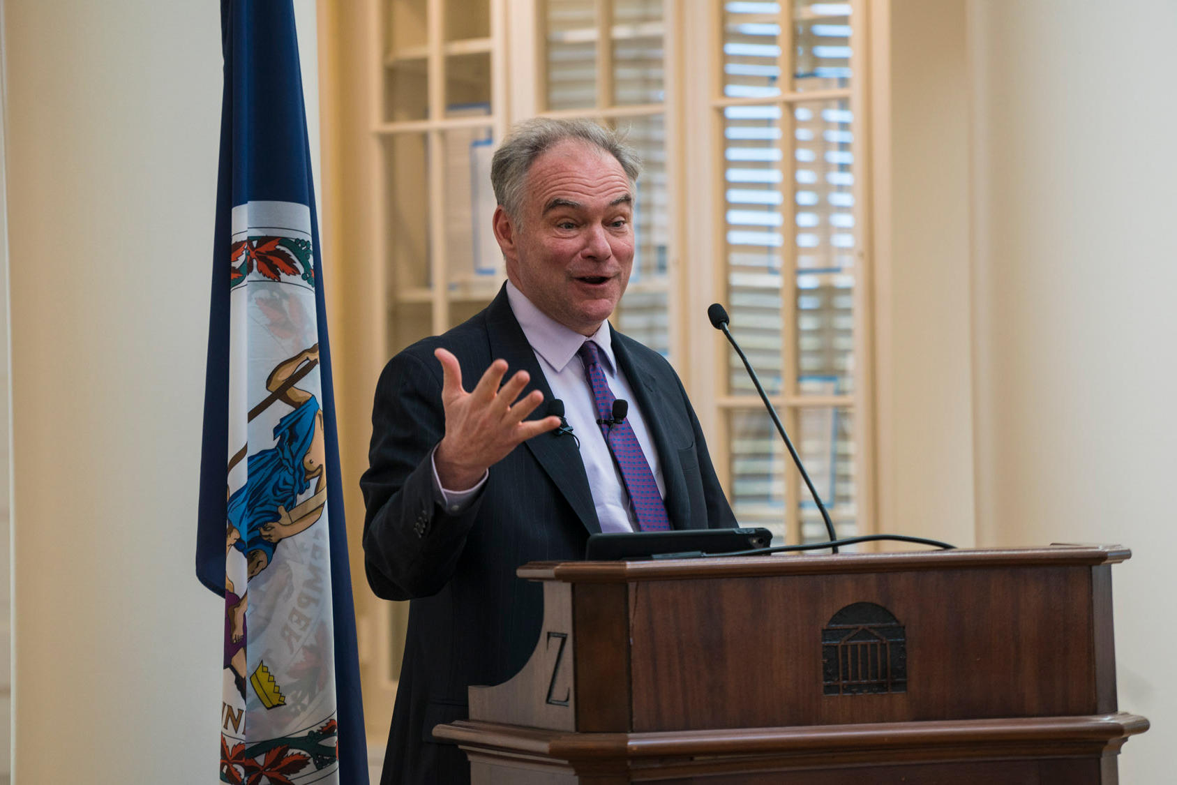 U.S. Sen. Tim Kaine spoke in the Rotunda's Dome Room on Friday afternoon during a Miller Center event. (Photos by Sakib Ahmed, UVA Miller Center)