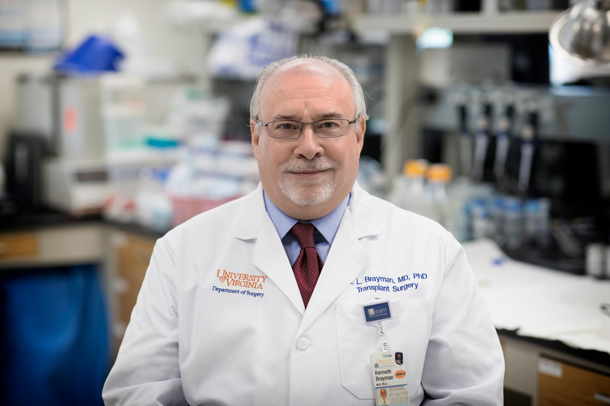 UVA transplant surgeon Dr. Kenneth Brayman is working with researchers at UVA and Vanderbilt University to understand the role of human immunoglobulin, or IgM, in the development of diabetes. (Photo by Dan Addison, University Communications)