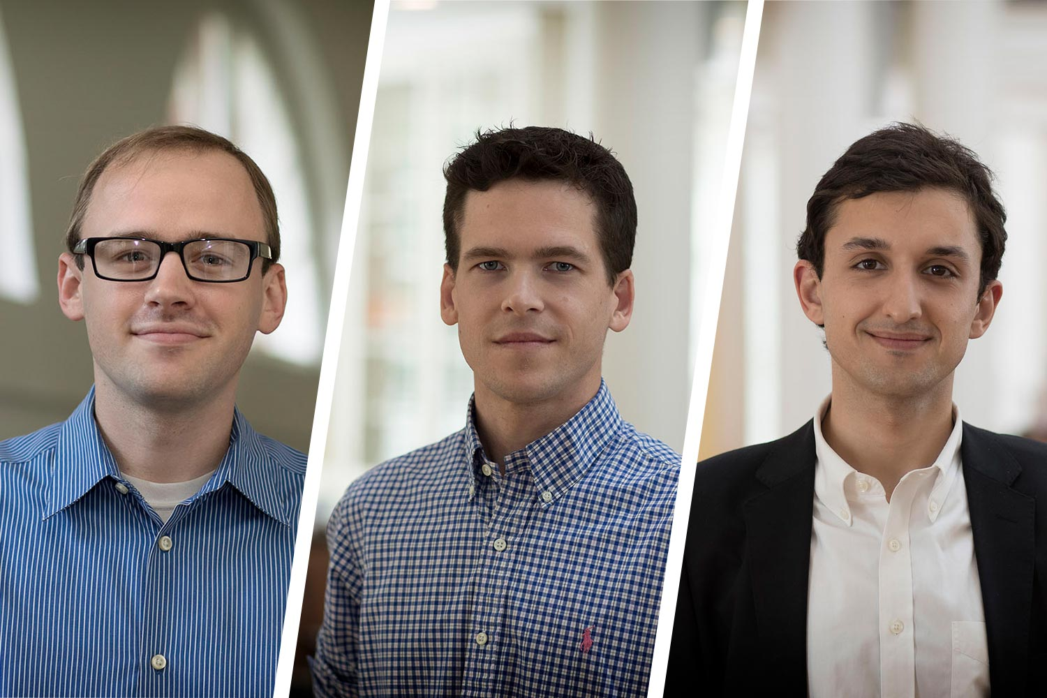 From left: Kyle Chattleton, Neal D. Curtis and Samuel V. Lemley. (Photos by Dan Addison, University Communications)