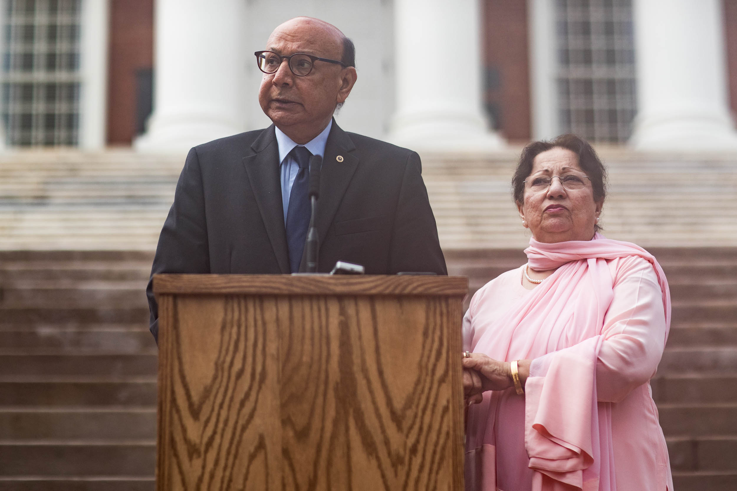 Khizr and Ghazala Khan announced the Capt. Humayun Khan Memorial Bicentennial Scholarship Fund on Friday at the Rotunda. (Photos by Sanjay  Suchak, University Communications)