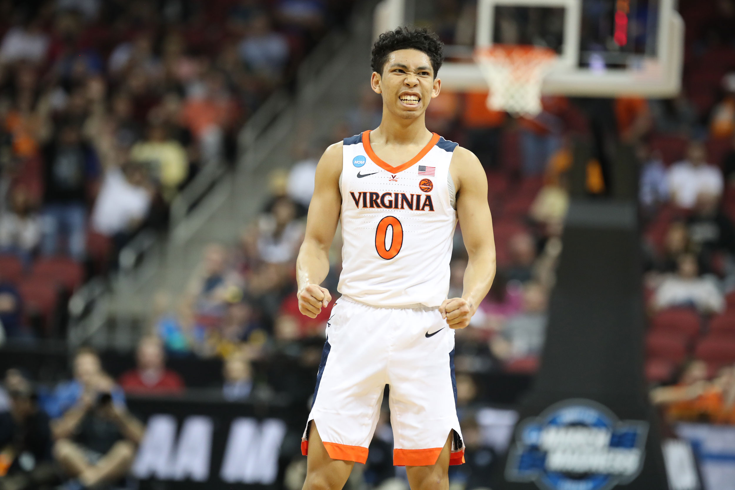 First-year guard Kihei Clark hit several key shots and fed his teammates some great passes throughout the game. (Photo by Matt Riley, UVA Athletics)