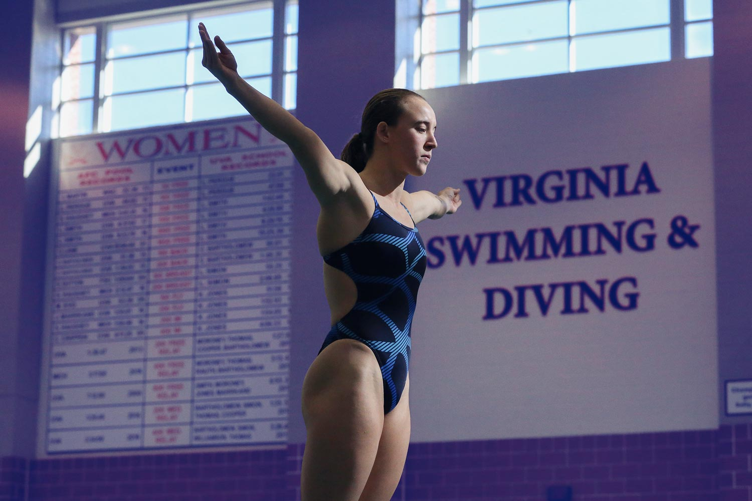 Third-year student Kylie Towbin broke UVA's diving record in January at a meet with the University of North Carolina.