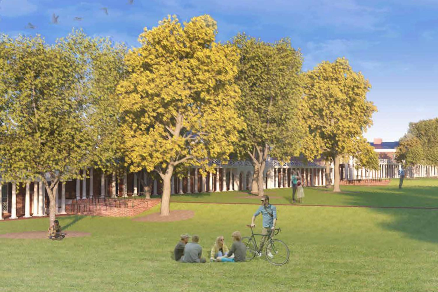 """An artist's rendering of how the new ramps on the Lawn may appear. The chair of the Board of Visitors' Buildings and Grounds Committee said the project reaffirms the University's commitment to """"be welcoming and accessible to all."""""""