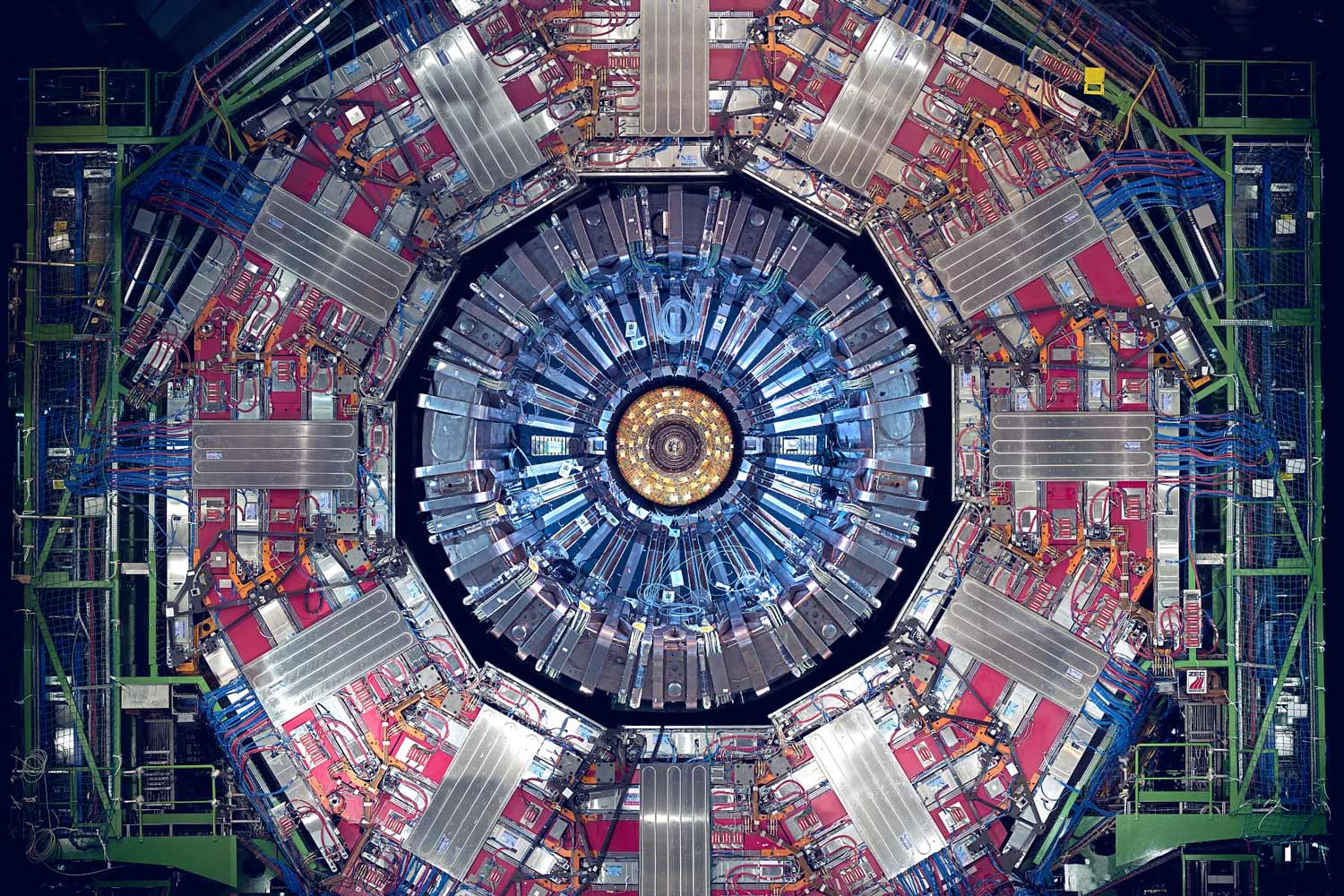 A particle detector at the Large Hadron Collider in Europe. UVA physicists have been involved with projects there since it was built, and have contributed instruments built at UVA.