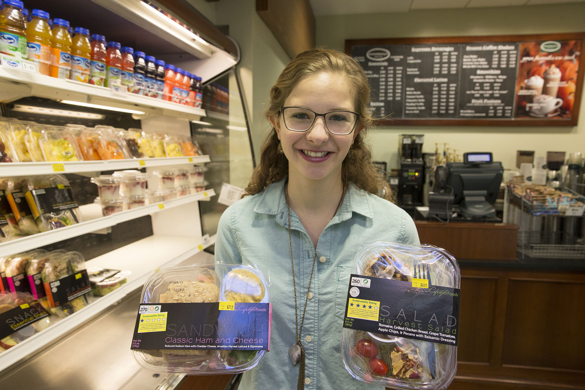 Lia Catteneo and fellow students labeled foods sold in Clark Café according to the carbon, nitrogen and water involved in the food's production.