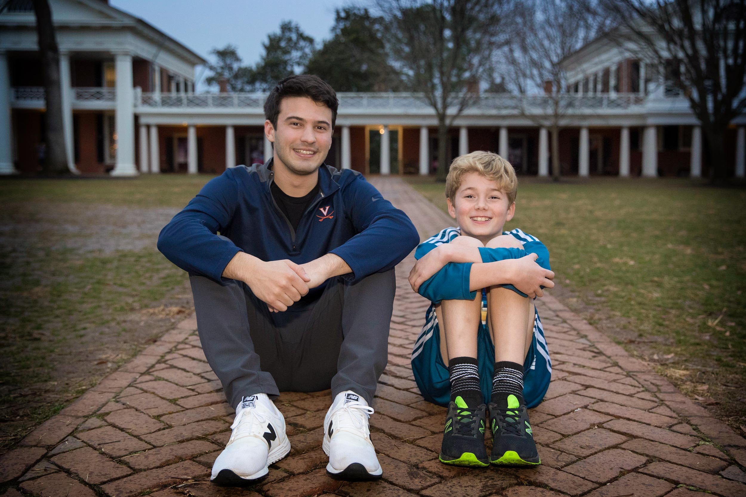"""Fourth-year UVA student Liam Flaherty and his """"little,"""" a 9-year-old boy named Jasper, partake in all sorts of activities on and around Grounds."""