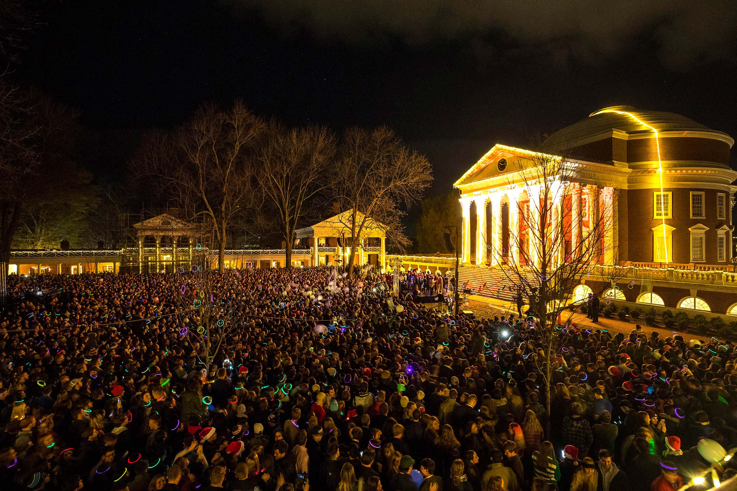 Since 2001, the annual Lighting of the Lawn celebration has drawn thousands to the Academical Village for an evening of entertainment and fellowship.