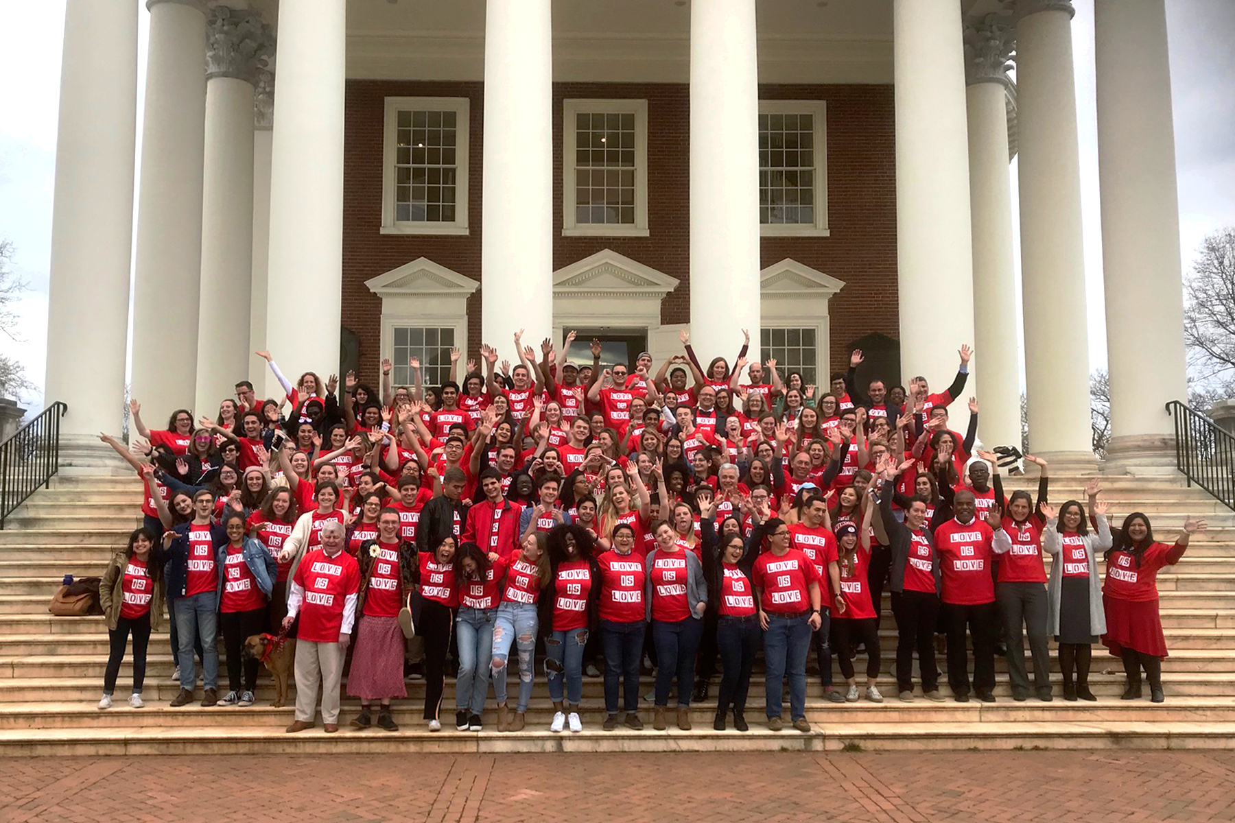 UVA students marked Valentine's Day last year with a joyful photo on the Rotunda steps, continuing a now 10-year-old tradition showing support for LGBTQ peers. (Photo by Dan Addison, University Communications)