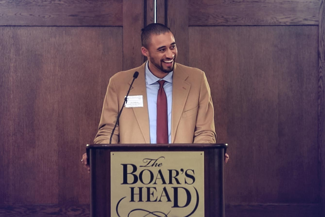 Fourth-year Jefferson Scholar Luke Williams addressed 116 scholarship finalists and nearly 100 alumni, friends, and faculty of the University during Jefferson Scholars Selection Weekend.