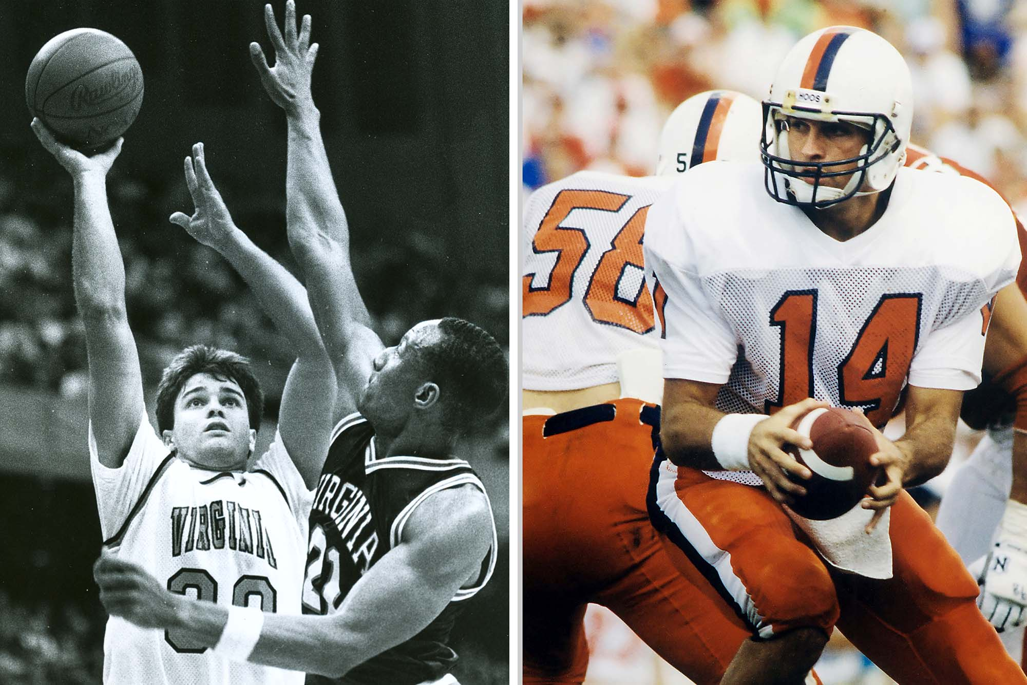 Matt Blundin played both basketball and football during his time at UVA. (Photos courtesy UVA Athletics)