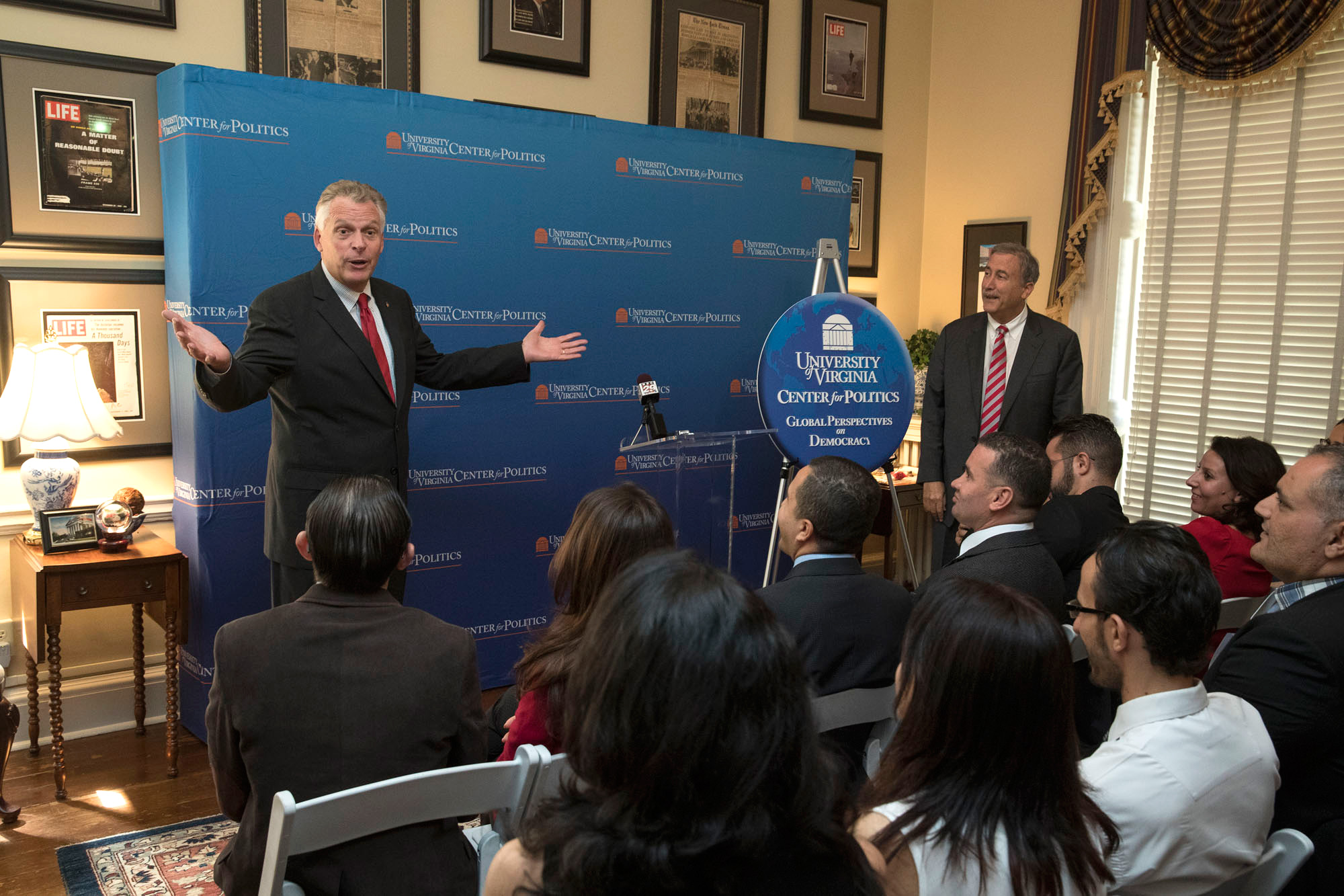 Gov. Terry McAuliffe takes questions from the audience, which included fellows in UVA's Center for Politics' Leaders for Democracy Fellowship Program.