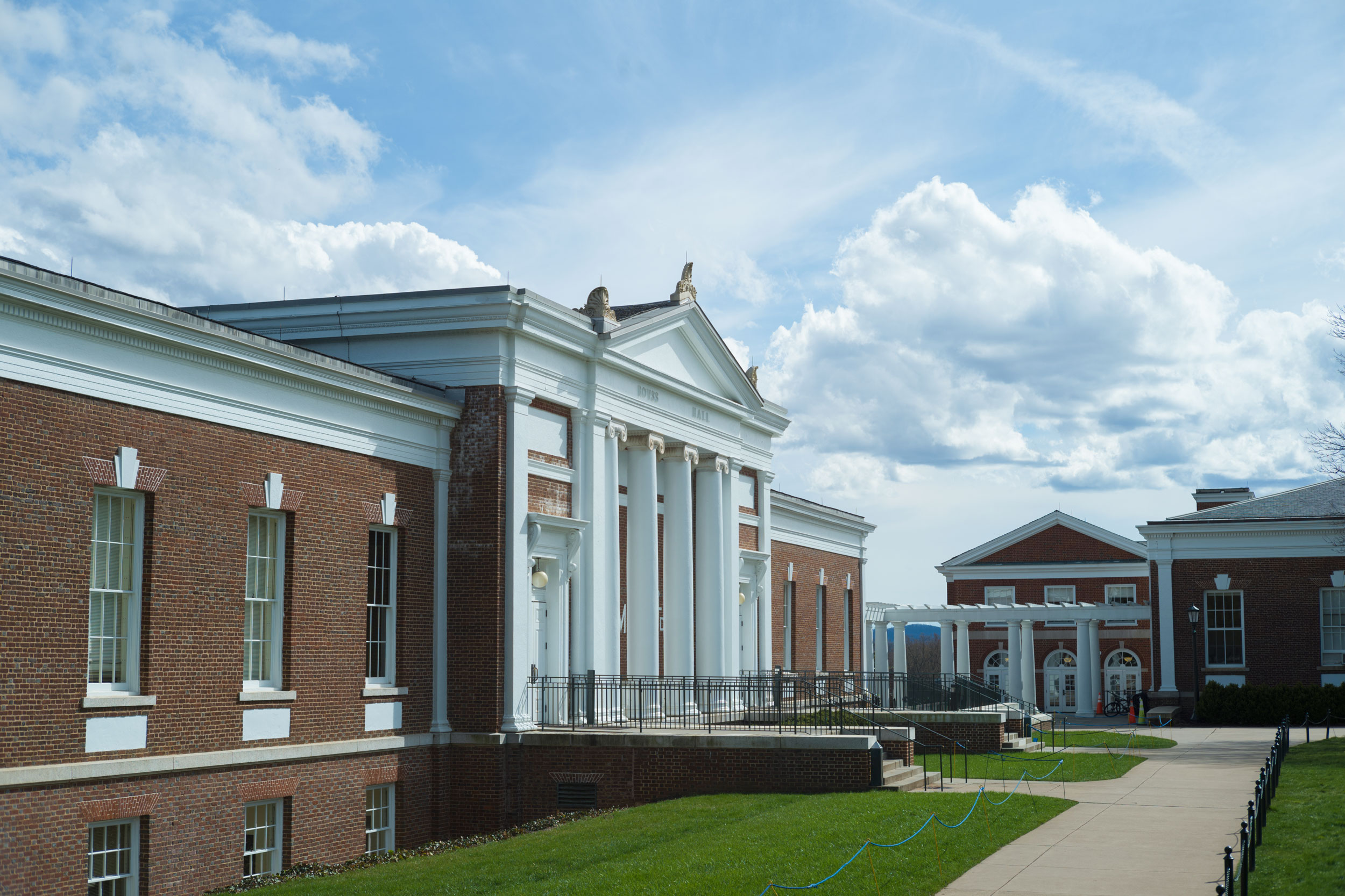 Rouss Hall, home of the McIntire School of Commerce. (Photo by Sanjay Suchak, University Communications)