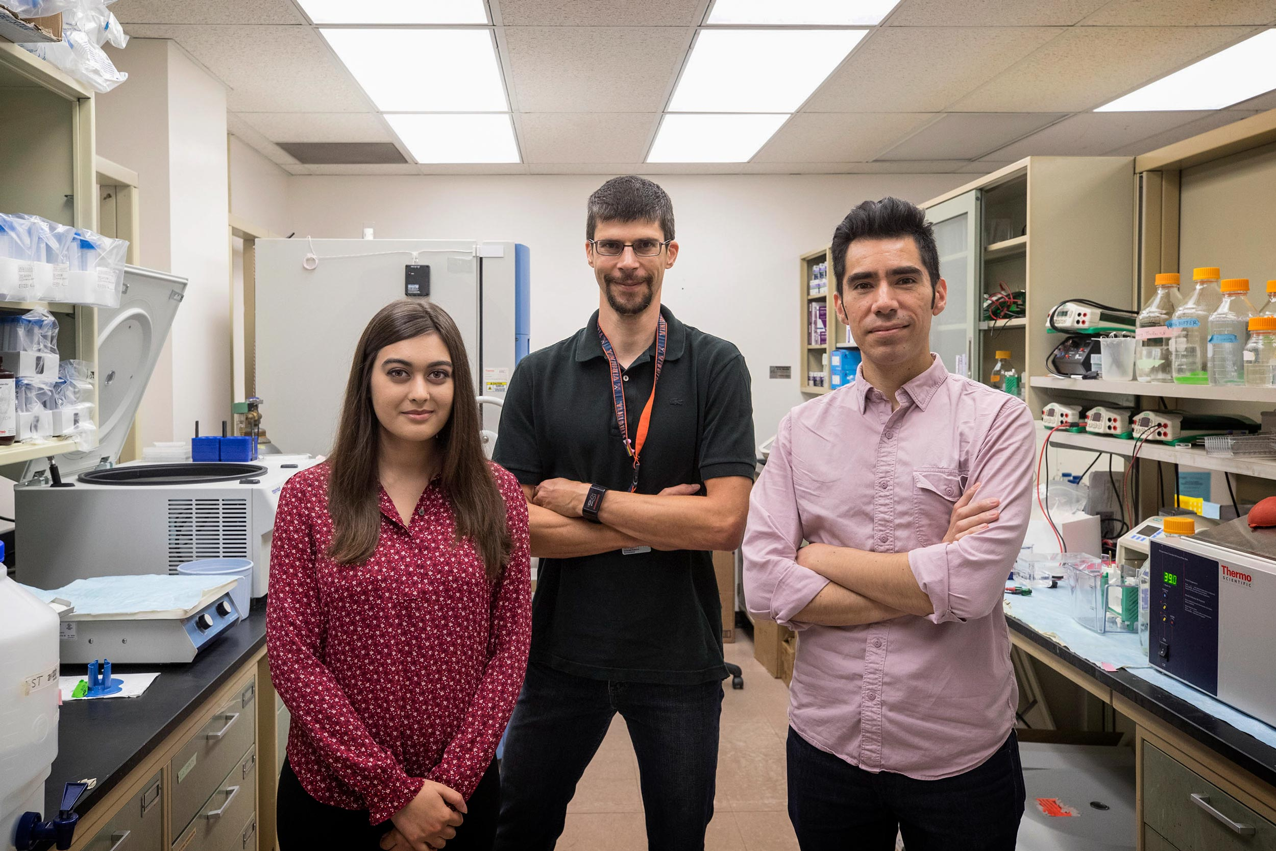 UVA neuroscientists, from left, Megan Chappell, Alban Gaultier and Anthony Fernández-Castañeda are now seeking ways to promote brain repair.