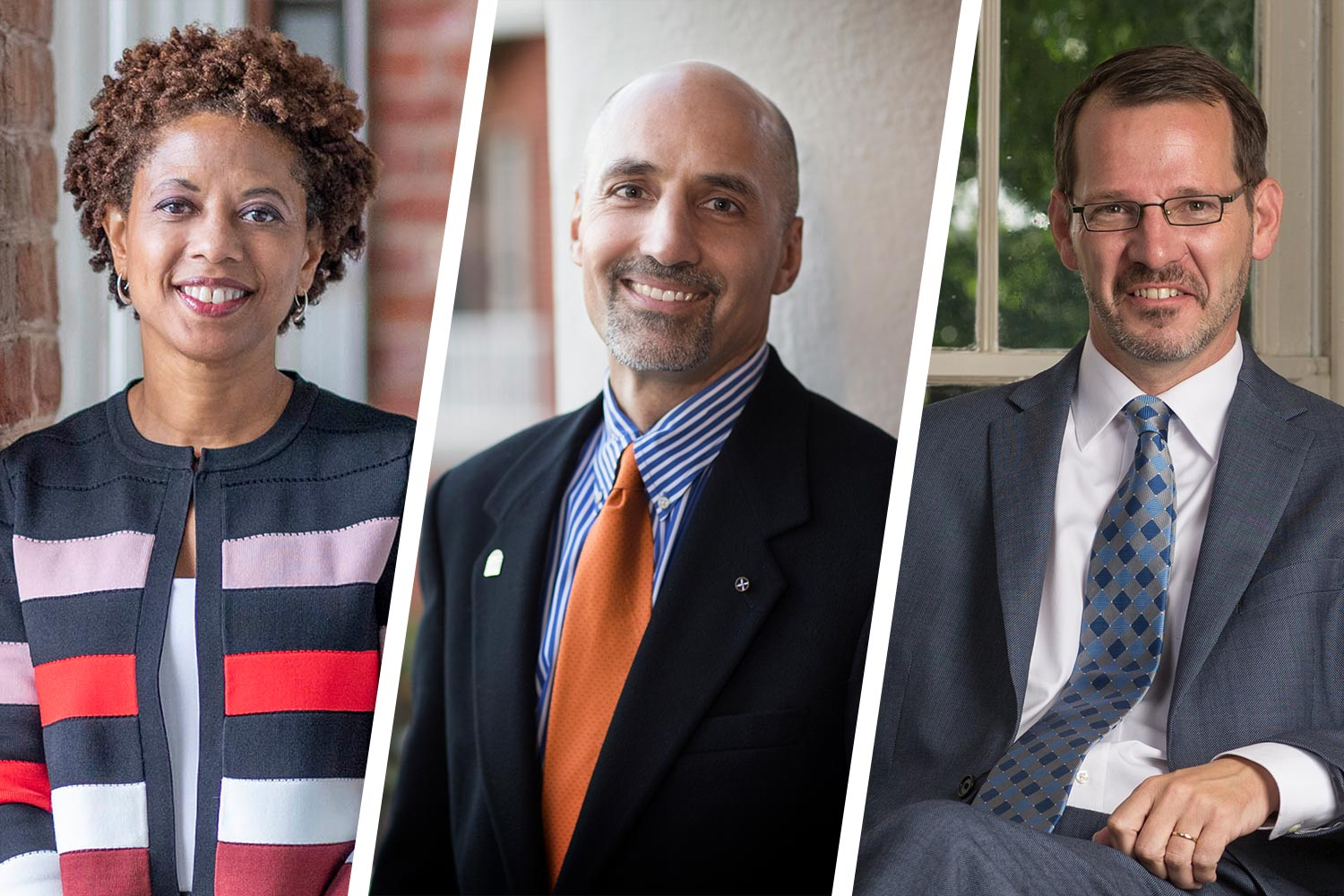 Left to right, Democracy Initiative co-director Melody Barnes, Miller Center director William Antholis and College of Arts & Sciences Dean Ian Baucom.