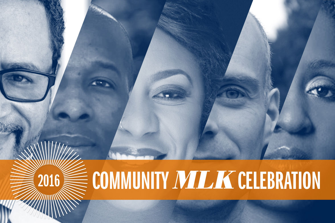 Guest speakers for the 2016 UVA Community MLK Celebration include, from left to right: Michael Eric Dyson, Dr. Damon Tweedy, Alicia Garza, Martin Berger and Peres Owino.