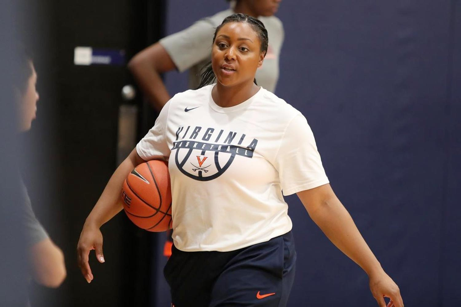 """The decision to return to UVA as an assistant coach was """"a no-brainer,"""" said Monica Wright, who starred for the Cavaliers before a successful professional career. (Photo by Matt Riley, UVA Athletics)"""