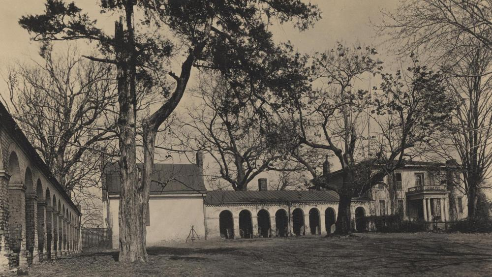 This image of Monroe Hill, which includes the University's oldest building, was taken by Rufus W. Holsinger in 1917.