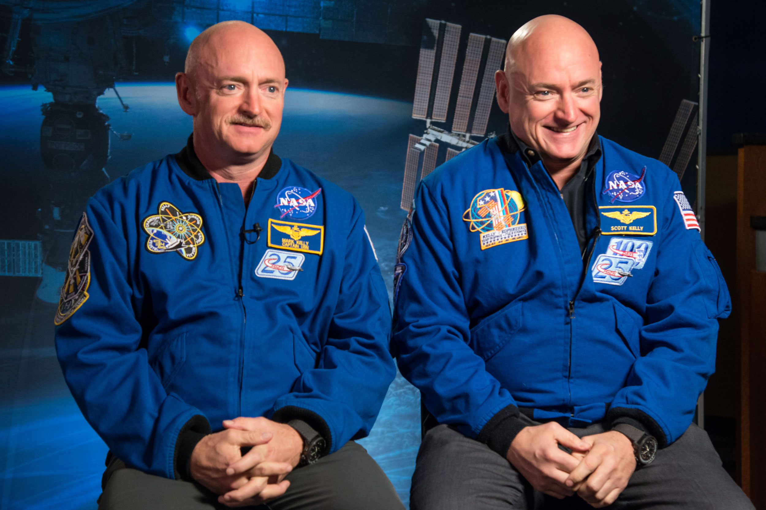 Identical twin astronauts Scott and Mark Kelly are subjects of a NASA study. Scott, right, spent a year in space, while Mark, left, stayed on Earth. Researchers looked at the effects of space travel on the human body. (Photo courtesy of NASA)
