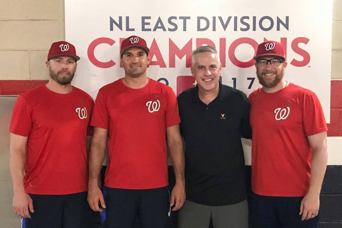Ryan Zimmerman, second from left, and Sean Doolittle, far right, with UVA coach Brian O'Connor and former UVA and Nationals teammate Mark Reynolds, have given back to the Cavalier program in many ways.