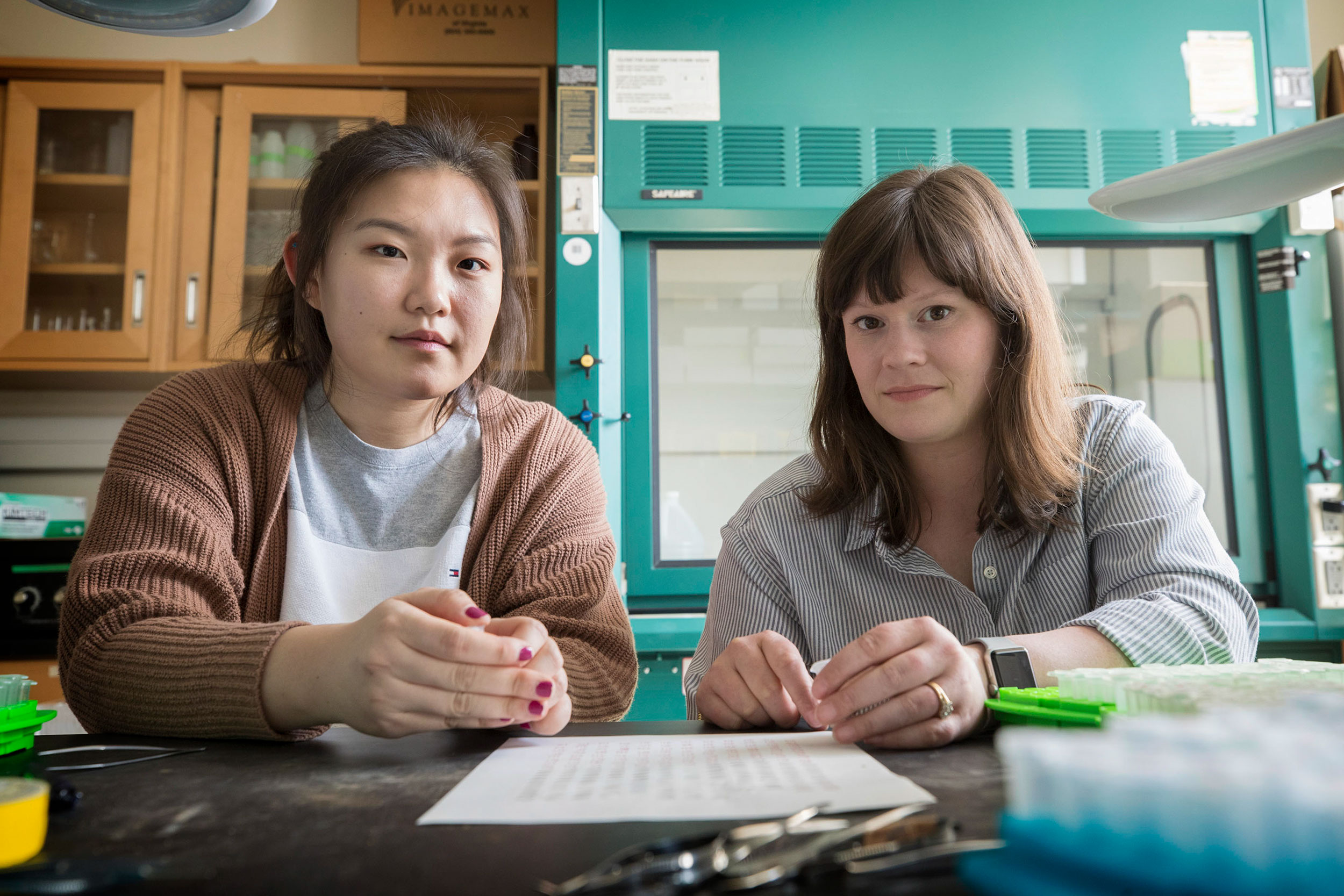 Nayoung Lee, left, and Kathryn LeCroy are researching two species of Japanese mason bees that have come into Virginia.